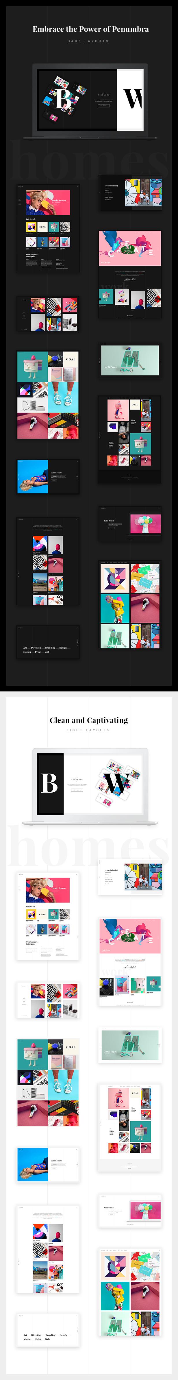 WordPress theme Penumbra - A Contemporary Multi-Concept Portfolio (Portfolio)